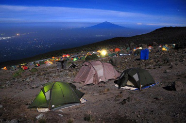 Camping under the stars on Mount Kilimanjaro in Tanzania