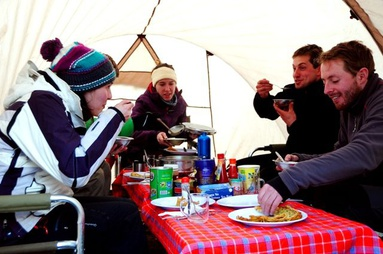 Dining in a tent on Mount Kilimanjaro