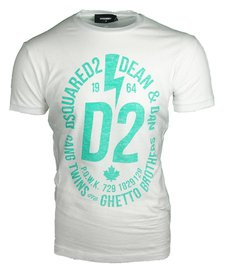 DSQUARED2 logo print T-shirt Wit/Turquoise