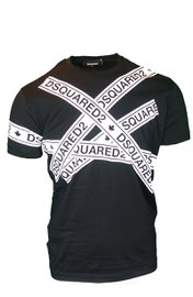 DSQUARED2 logo strip T-shirt Zwart
