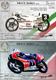 Garelli 125cc Grand Prix, schaal 1:12  -  1985 World Champion Fausto Gresini / 1984 World Champion Angel Nieto