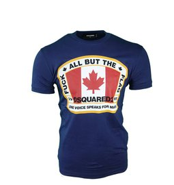 DSQUARED2 Fuck All But the Flag T-Shirt Blauw