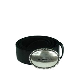 DSQUARED2 Embossed Buckle Belt Riem Zwart