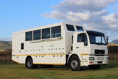 Overland truck used for group tours in Africa