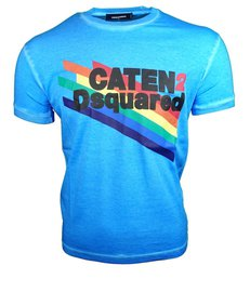 DSQUARED2 Caten Rainbow T-shirt Blauw