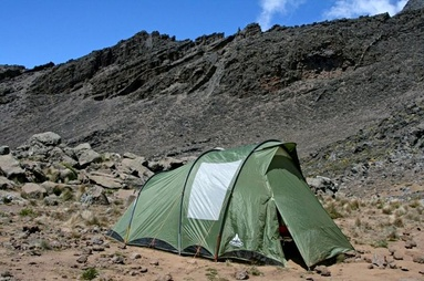 Example of a tent you will be sleeping in during your Kilimanjaro climb