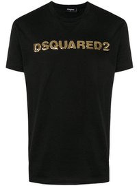 DSQUARED2 sequinned logo T-shirt Zwart