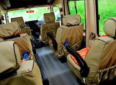 Window seat for each client in a 4x4 safari vehicle in Africa