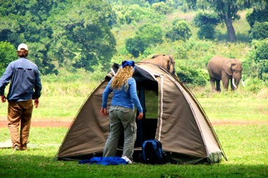 Safari tent used for camping tours in Africa