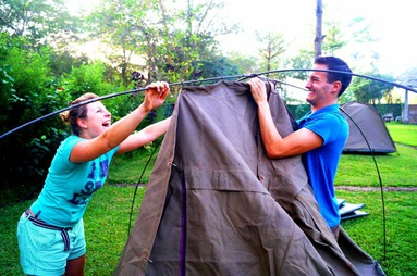 Easy to put up canvas tent during Tanzania camping safaris