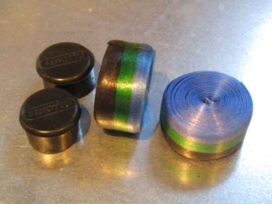 NOS 3TTT HANDLEBAR HANDLE BAR END PLUGS CAPS CHROME AND TAPES