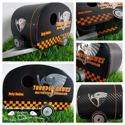 Caravan Vogelhuisje love the 80's - Hardhout - Thunder Hawks  - Carbon wrapping