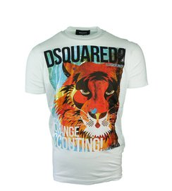DSQUARED2 Orange Scouting Lion Print T-shirt Wit