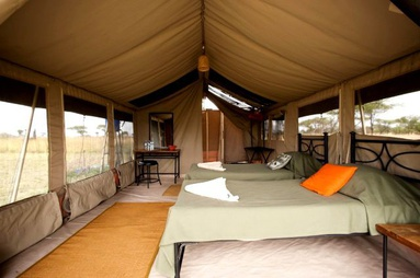 Example of a tented camp in the Serengeti