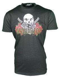 DSQUARED2 skull and rose logo print T-shirt Zwart