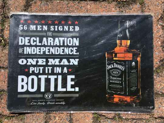 vintage replica reclamebord Jack Daniels 56 men signed