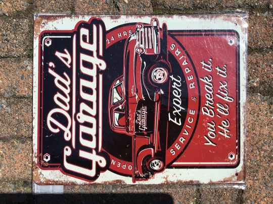 vintage replica reclamebord dad`s garage
