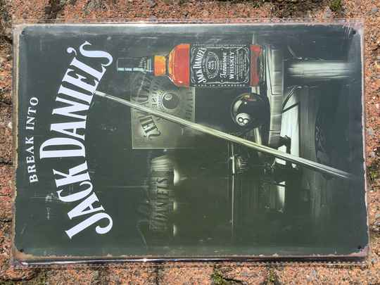 vintage replica reclamebord Jack Daniels break into