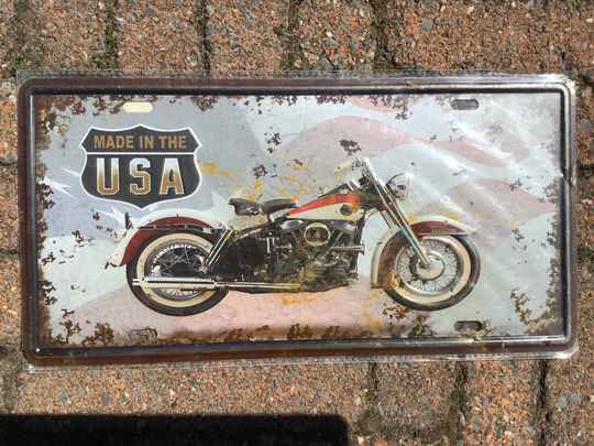 vintage replica numberplate made in the USA