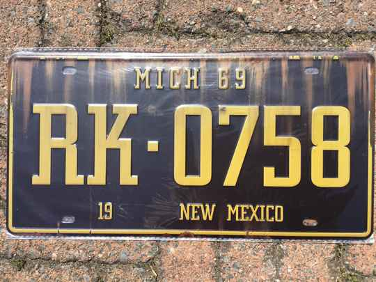 vintage replica numberplate Mich New Mexico