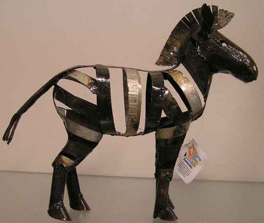 Scrap metal  art Zebra 35x35