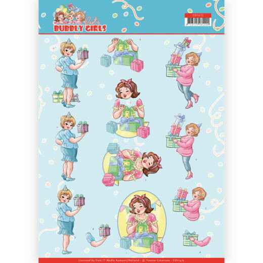 CD11475 - 3D cutting sheet - Yvonne Creations - Bubbly Girls - Party - Decorating
