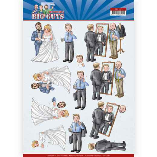 CD11482 - 3D Cutting sheet - Yvonne Creations - Big Guys - Workers - Well Dressed