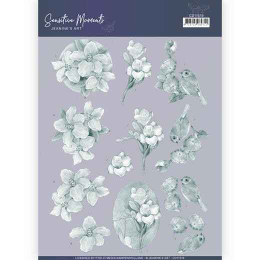 CD11519 - 3D Cutting Sheet - Jeanine's Art - Sensitive Moments - Grey Freesias