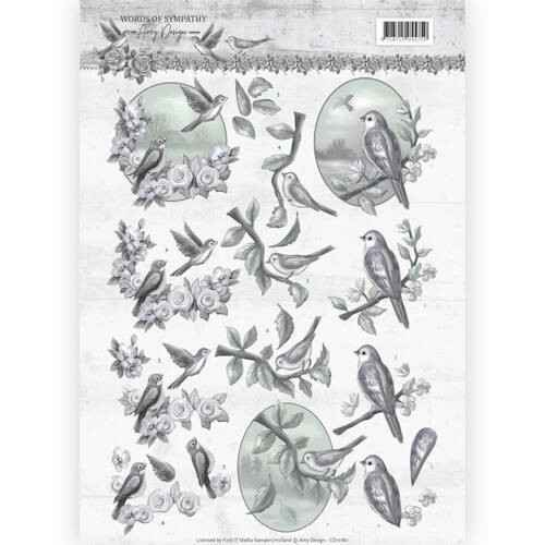 CD11180 - 3D Knipvel - Amy Design - Words of Sympathy - Sympathy Swallows