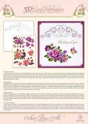 3DCE13009 - 3D Card Embroidery Pattern Sheets Rose Romantica