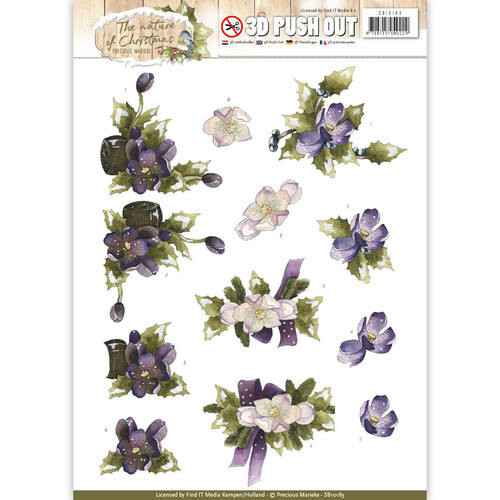 SB10183 - 3D Pushout - Precious Marieke - The Nature of Christmas - Christmas Flowers