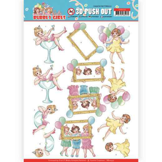 SB10439 - 3D Pushout - Yvonne Creations - Bubbly Girls - Party - Let's have fun