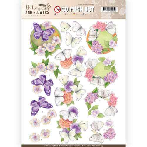 SB10219 - 3D Push Out - Jeanine's Art - Classic Butterflies and Flowers - White Butterflies