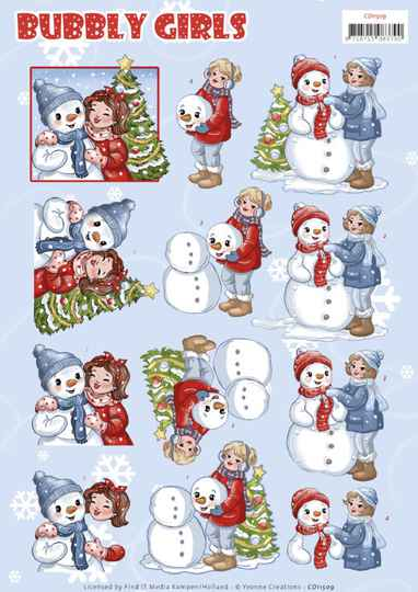 CD11509 - 3D Cutting Sheet - Yvonne Creations - Bubbly Girls - Christmas