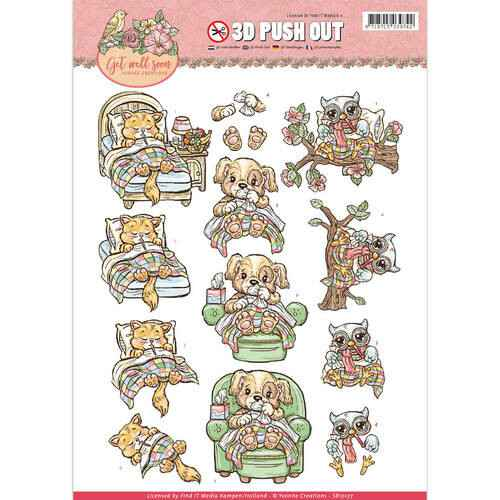 SB10177 - 3D Pushout - Yvonne Creations - Get Well Soon - ill animals
