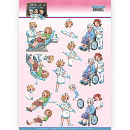 CD11664 - 3D Cutting Sheet - Yvonne Creations - Bubbly Girls Professions - Nurse