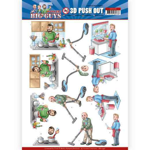 SB10446 - 3D Push Out - Yvonne Creations - Big Guys - Workers - Big Cleaning
