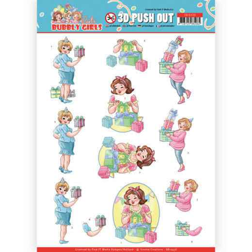 SB10438 - 3D Pushout - Yvonne Creations - Bubbly Girls - Party - Decorating