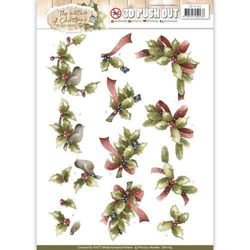 SB10184 - 3D Pushout - Precious Marieke - The Nature of Christmas - Christmas Holly