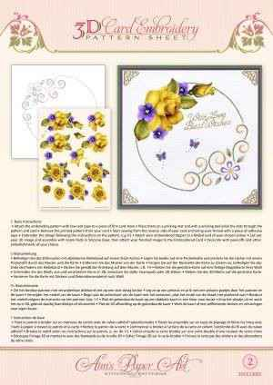 3DCE13002 - 3D Card Embroidery Pattern Sheets Yellow Rose