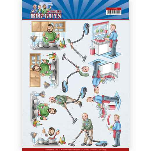 CD11479 - 3D Cutting sheet - Yvonne Creations - Big Guys - Workers - Big Cleaning
