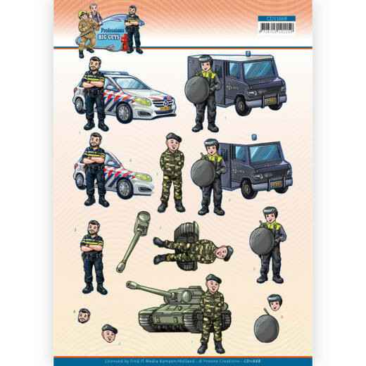 CD11668 - 3D Cutting Sheet - Yvonne Creations - Big Guys Professions - Police