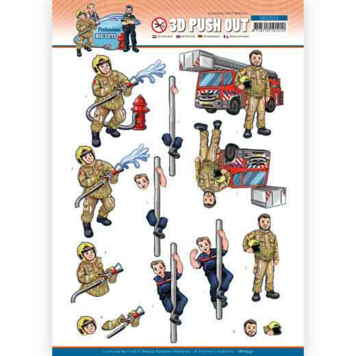 SB10553 - 3D Push Out - Yvonne Creations - Big Guys Professions - Fire department