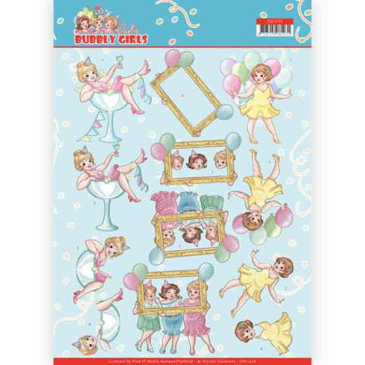 CD11476 - 3D cutting sheet - Yvonne Creations - Bubbly Girls - Party - Let's have fun