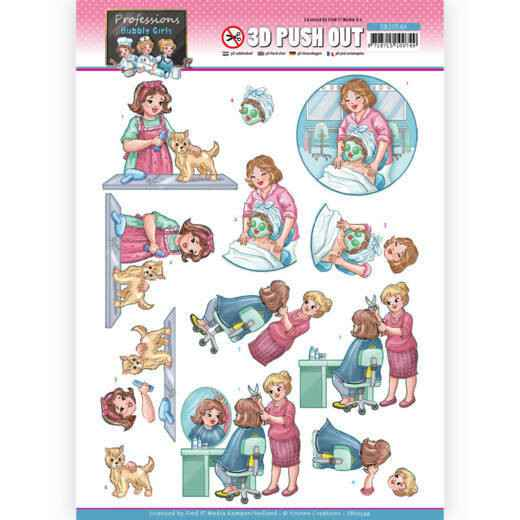SB10549 - 3D Push Out - Yvonne Creations - Bubbly Girls Professions - Beautician