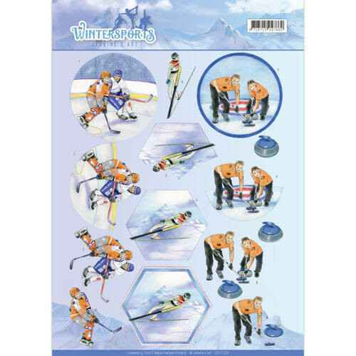 CD11029 - 3D Knipvel - Jeanine's Art - Wintersports - Ice Hockey