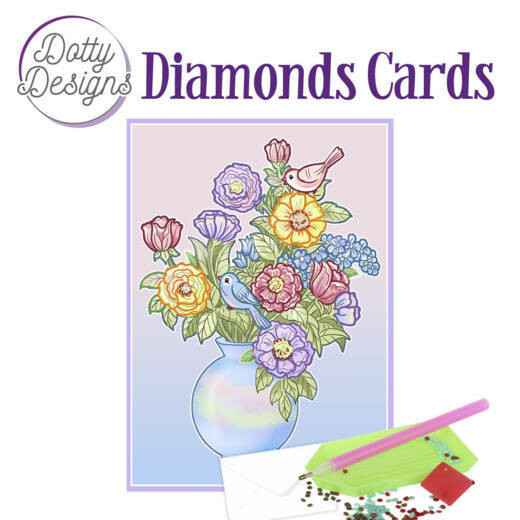 DDDC1023 - Dotty Designs Diamond Cards - Vase with flowers 10x15