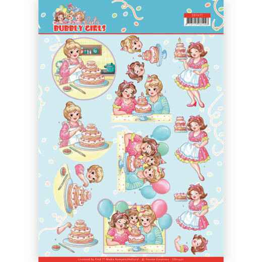CD11477 - 3D cutting sheet - Yvonne Creations - Bubbly Girls - Party - Baking