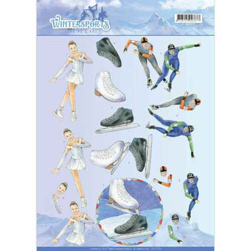 CD11030 - 3D Knipvel - Jeanine's Art - Wintersports - Ice Skating