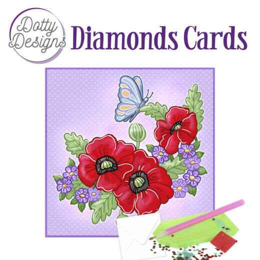 DDDC1013 - Dotty Designs Diamond Cards - Red Flowers 15x15